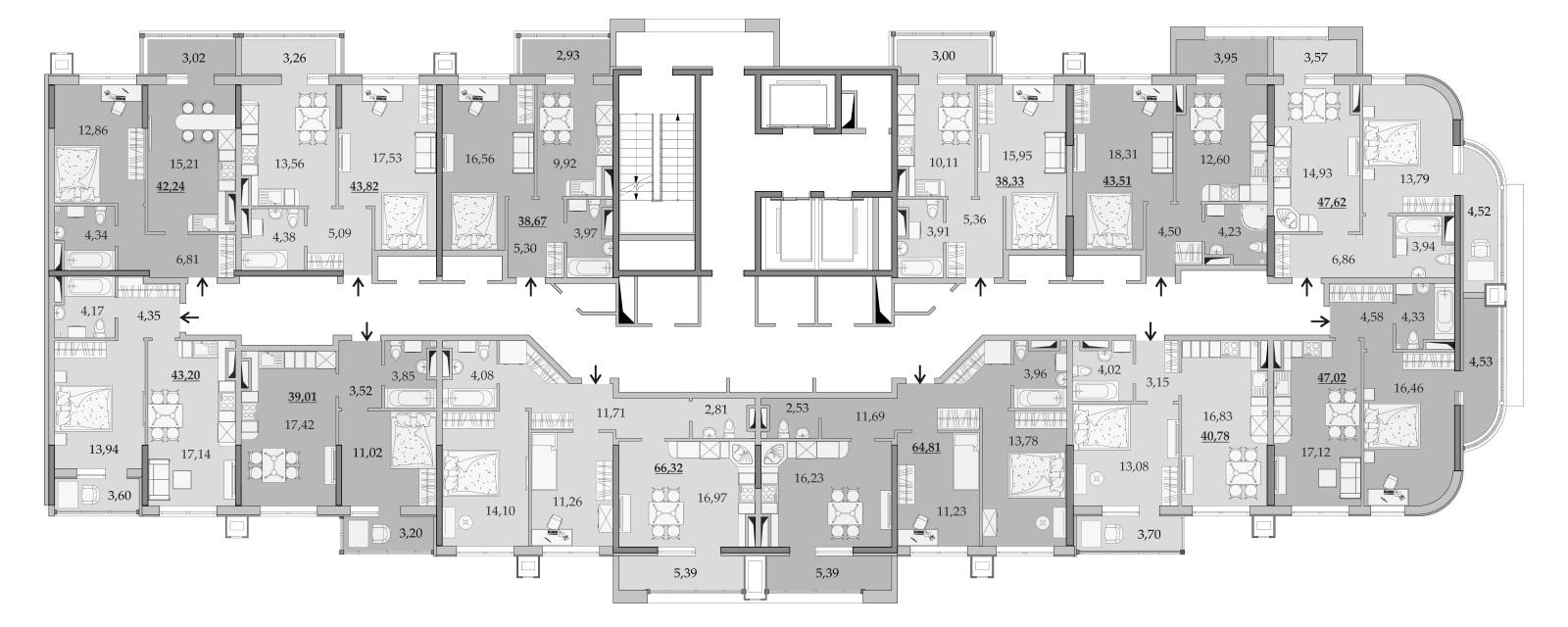 Планировки 14-го этажа