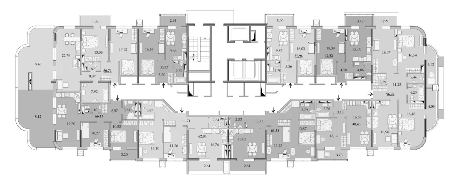 Планировки 16-го этажа
