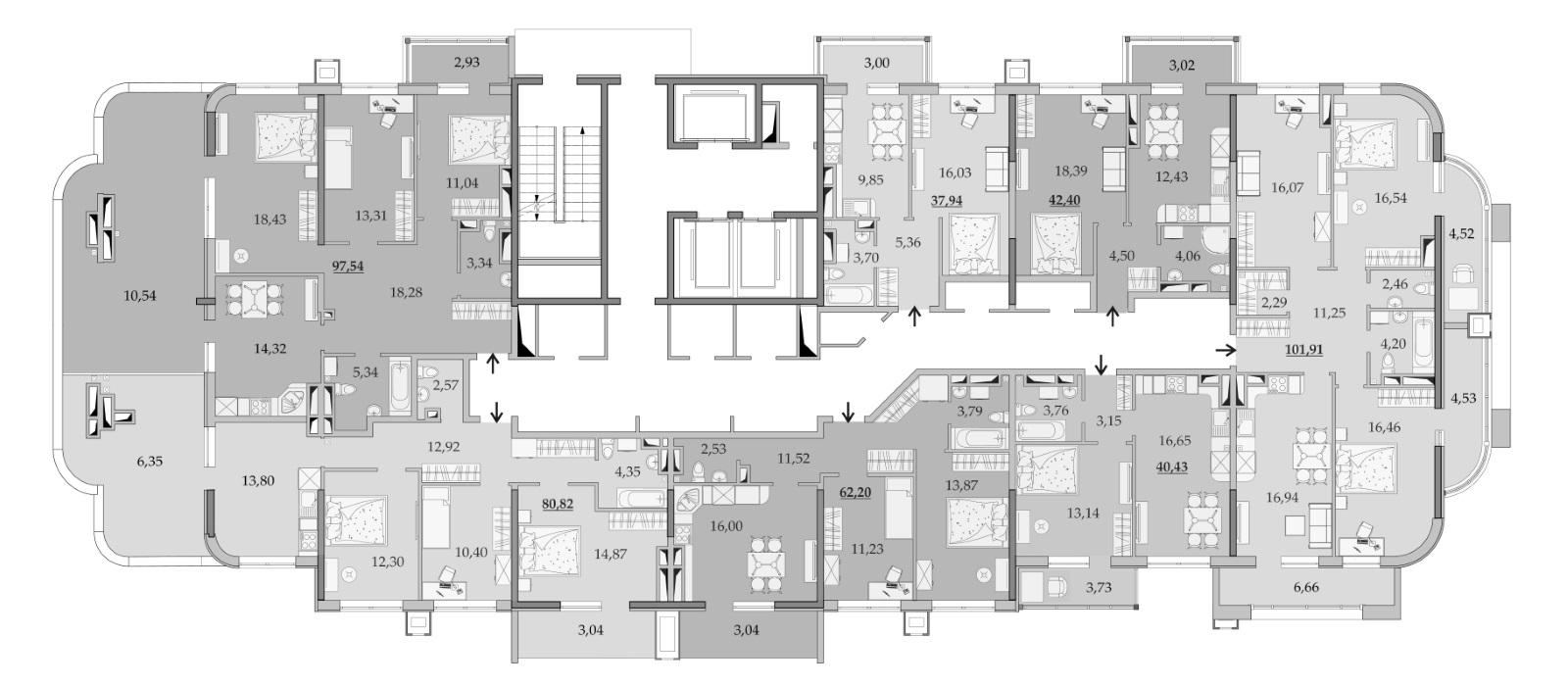 Планировки 18-го этажа