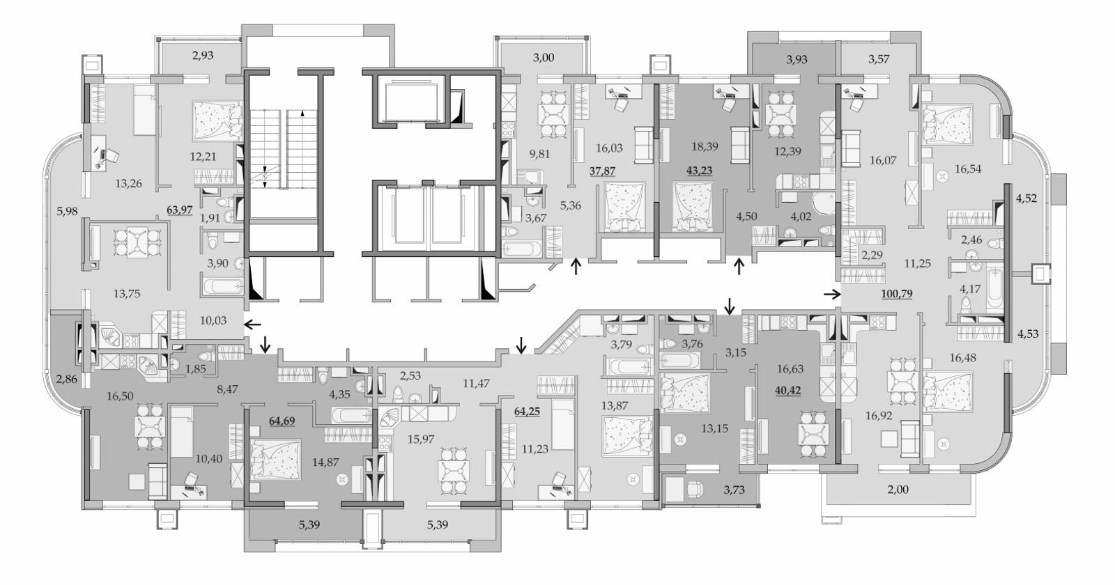 Планировки 20-го этажа