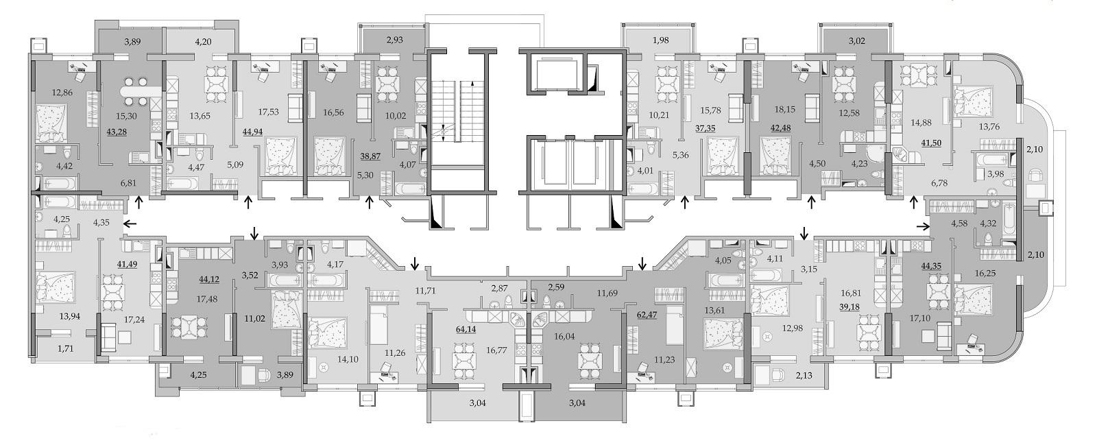 Планировки 8-го этажа