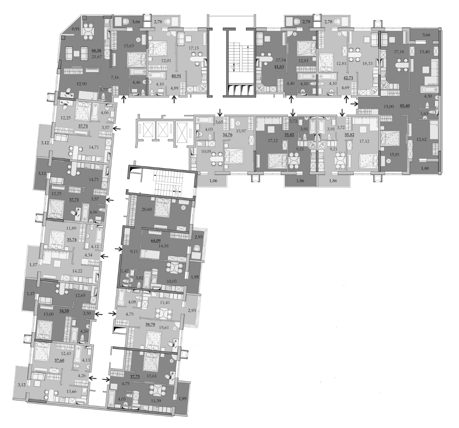 Планировки 10-го этажа