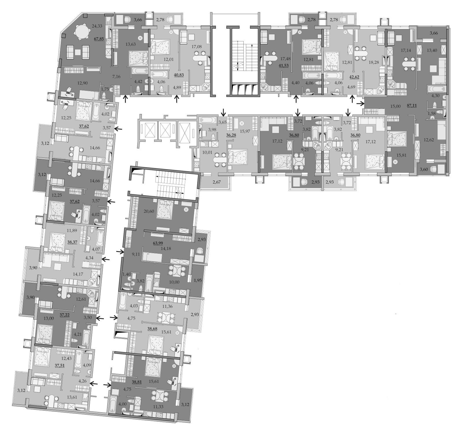 Планировки 13-го этажа