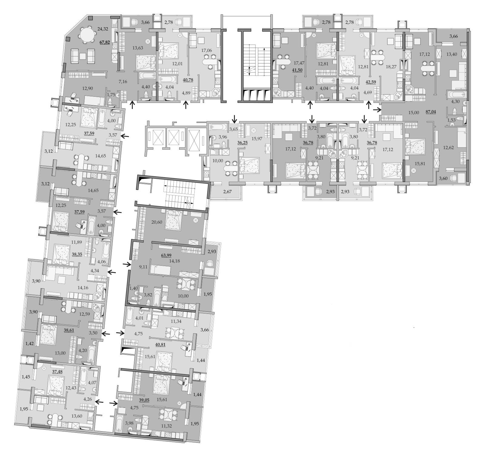 Планировки 15-го этажа