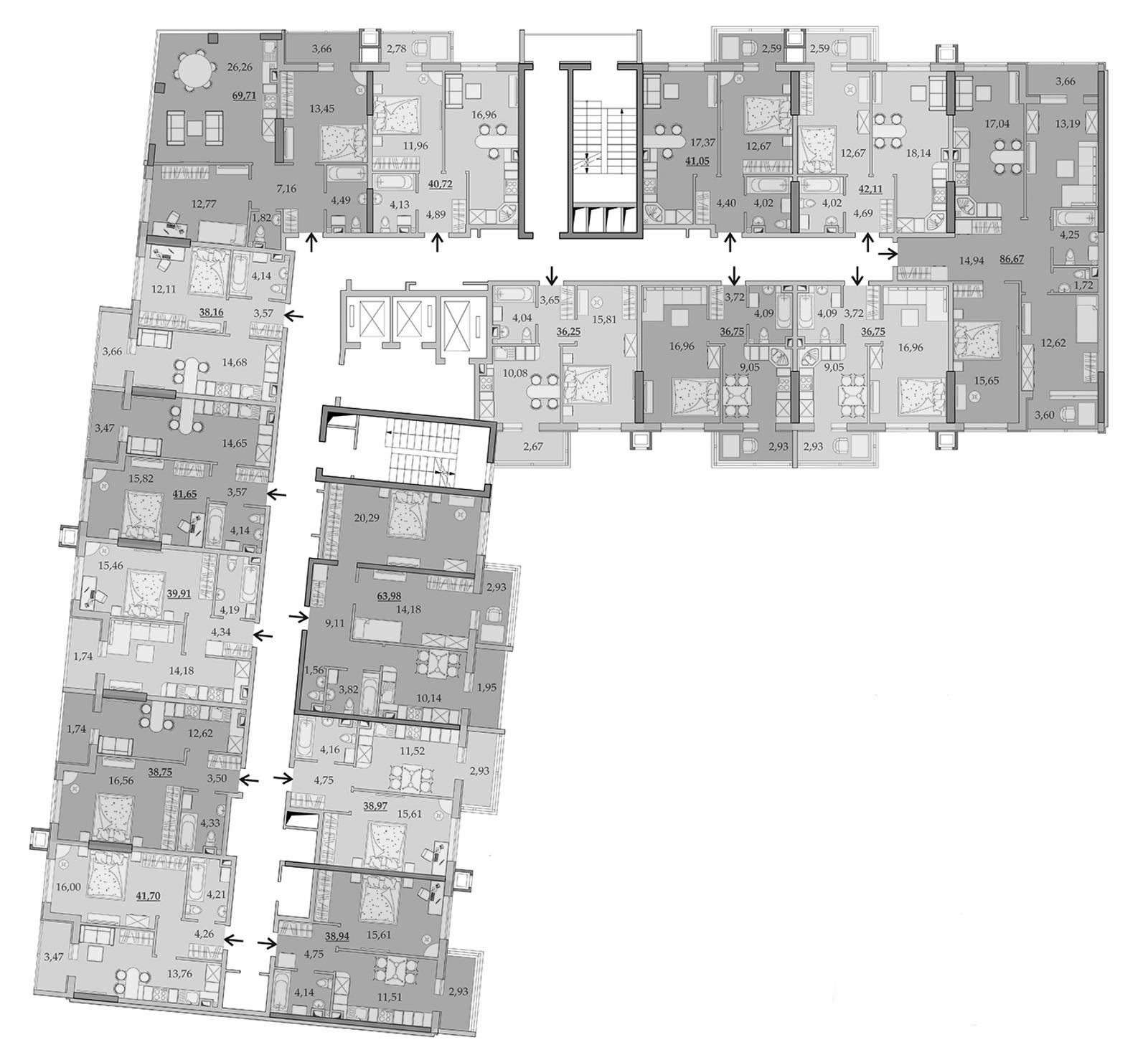 Планировки 3-го этажа