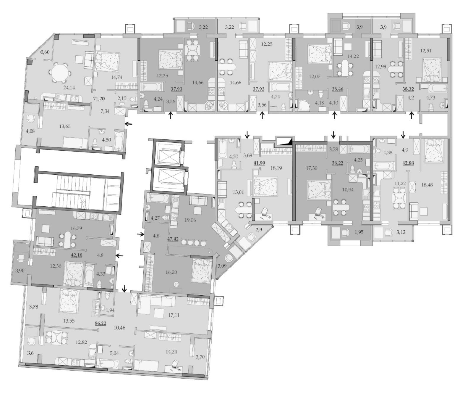 Планировки 11-го этажа