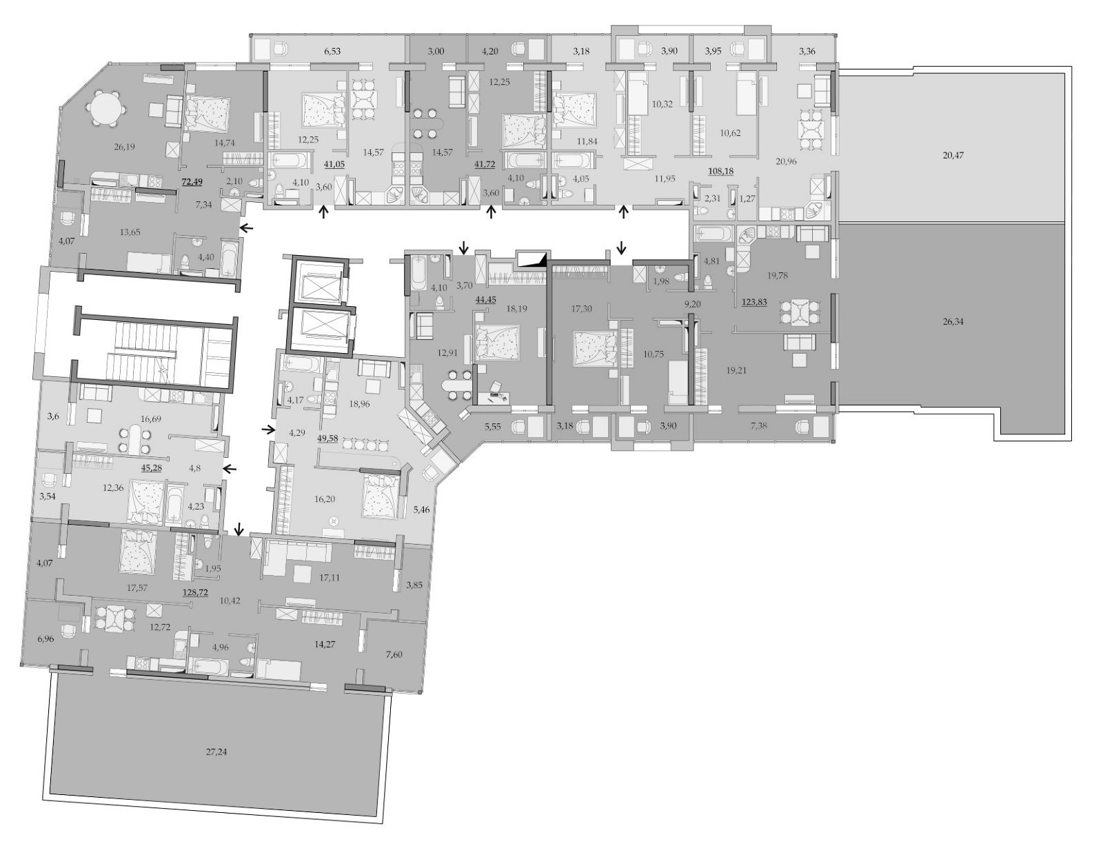 Планировки 17-го этажа