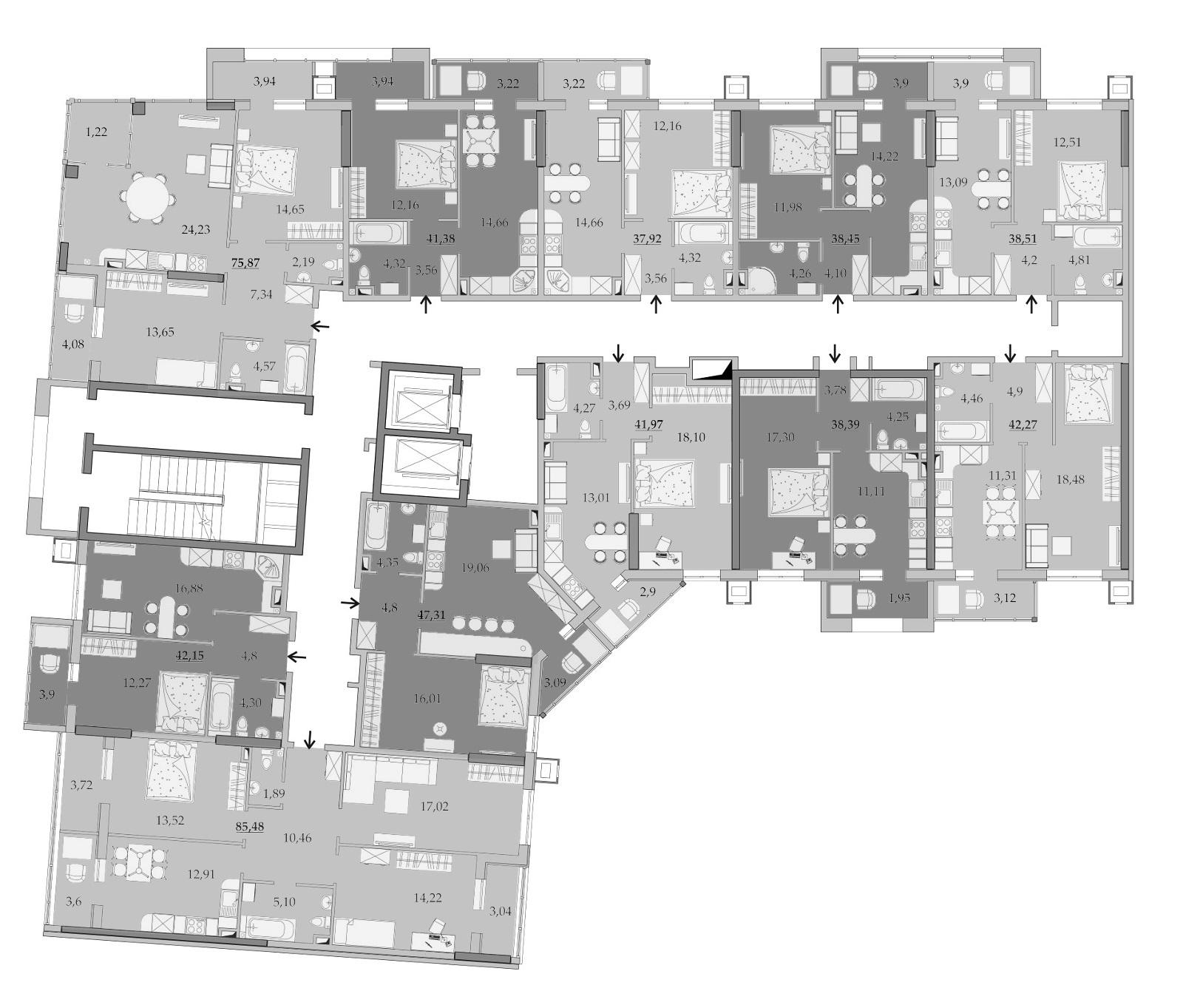 Планировки 5-го этажа