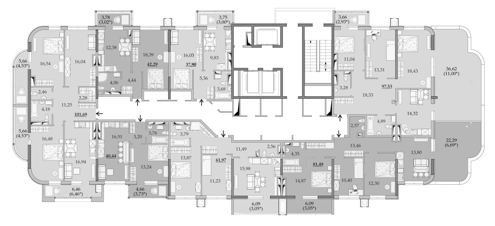 Планировки 19-го этажа