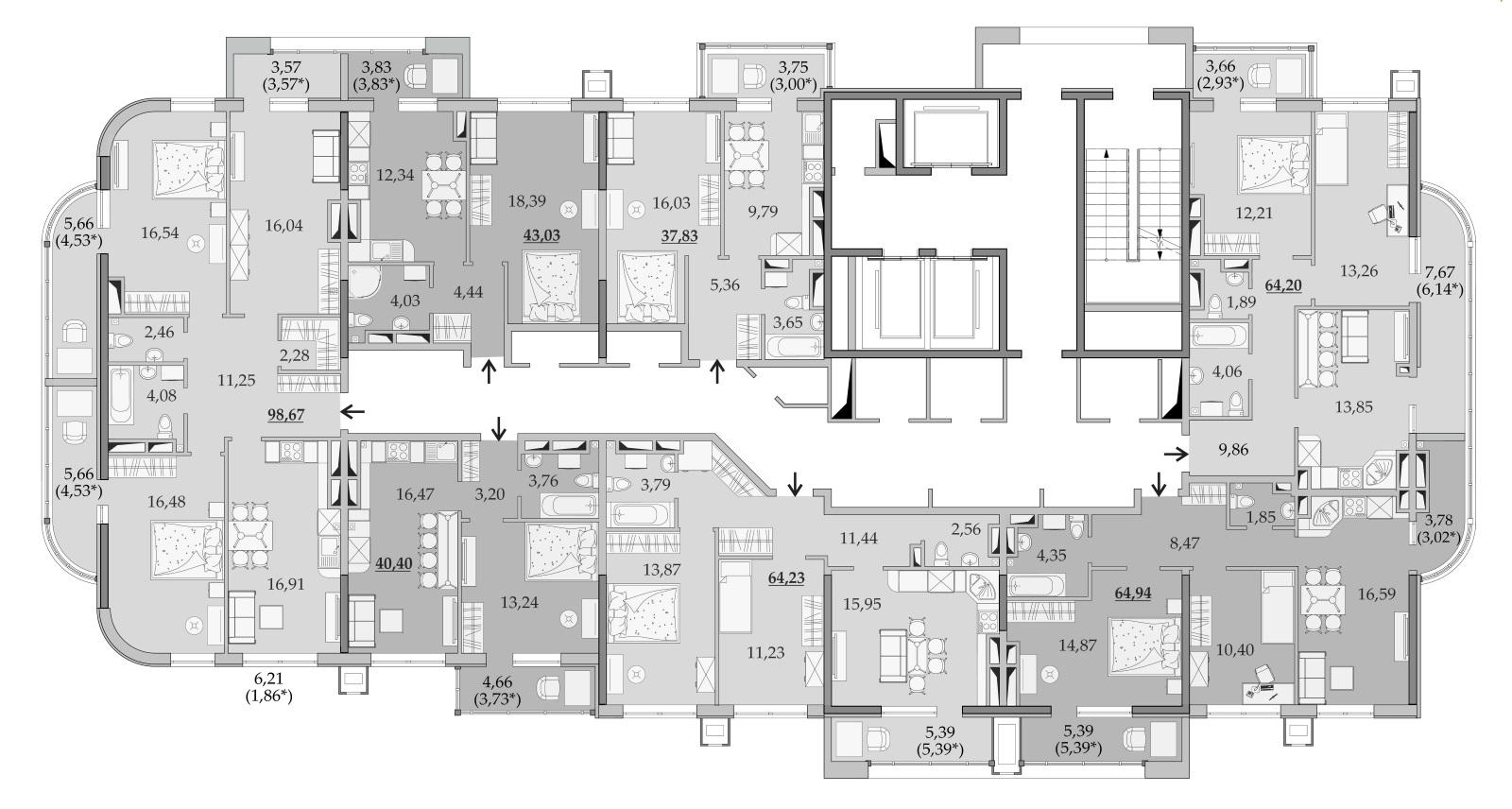 Планировки 21-го этажа