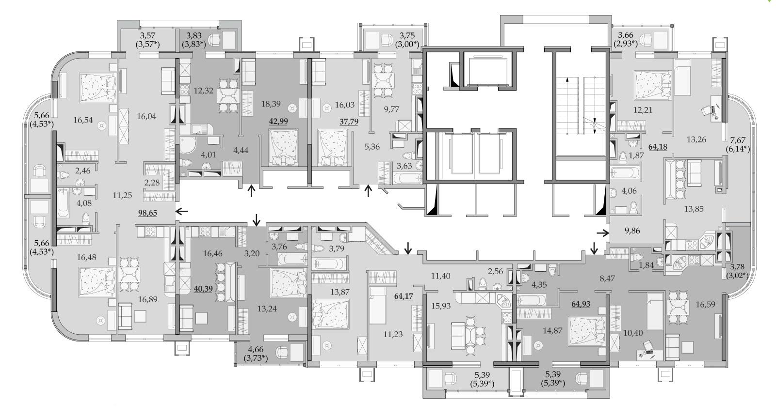 Планировки 22-го этажа