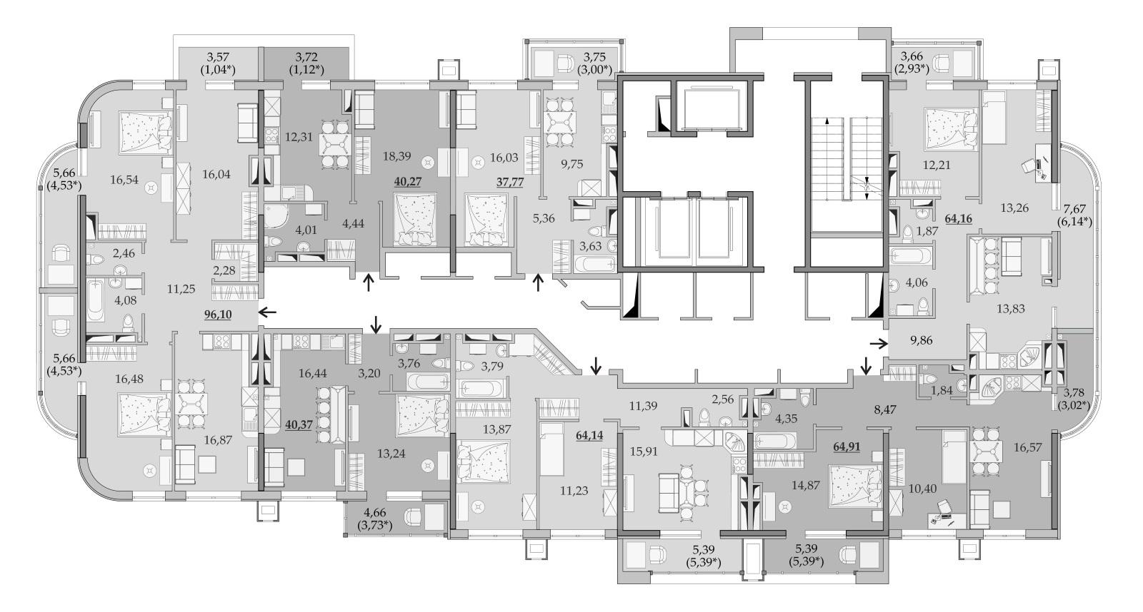 Планировки 23-го этажа
