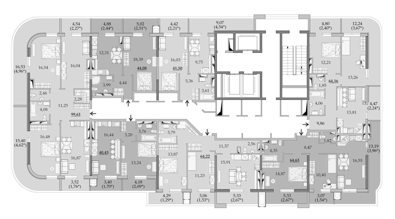Планировки 24-го этажа