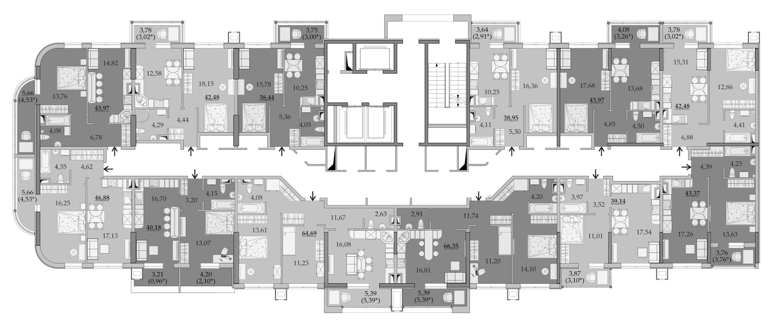 Планировки 6-го этажа