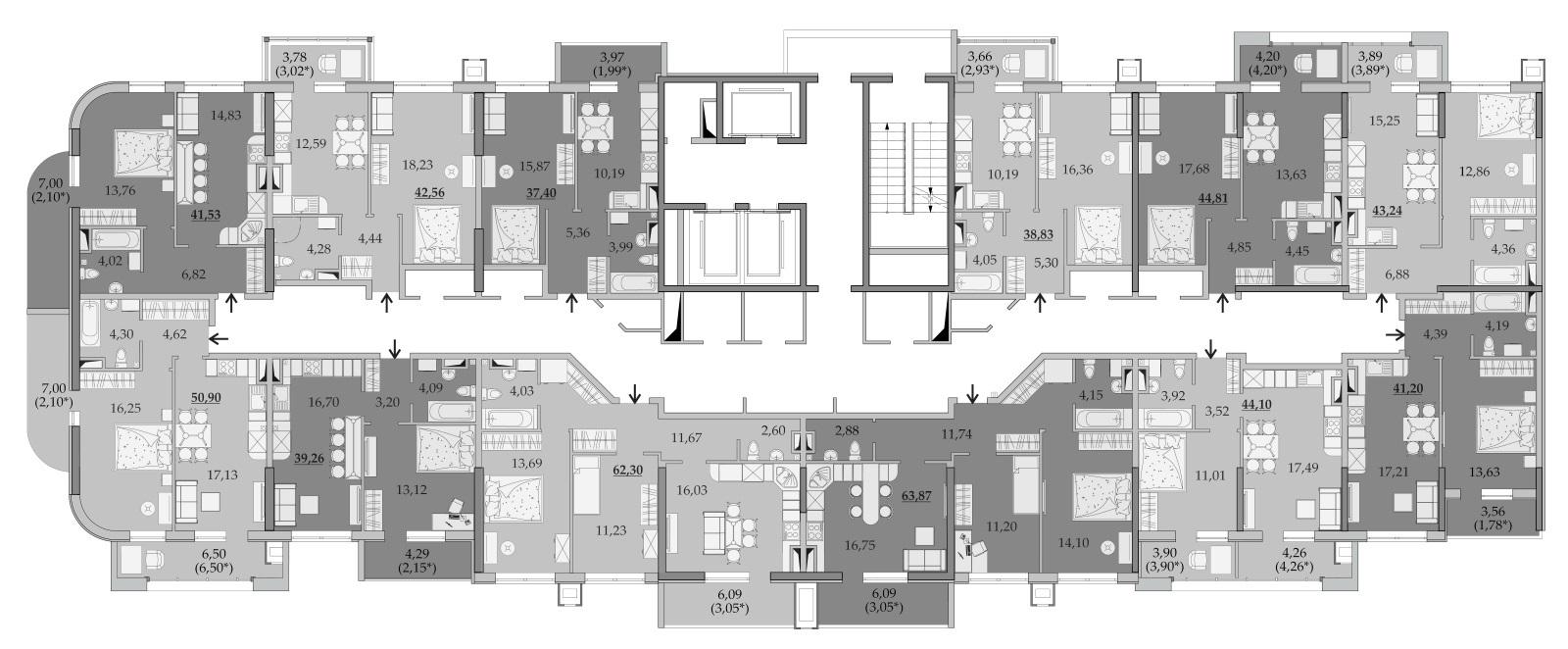 Планировки 9-го этажа